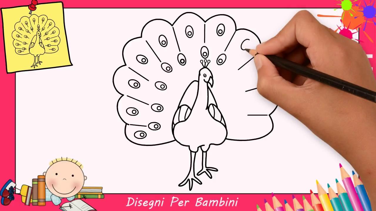 come disegnare un pavone facile passo per passo per
