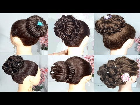 6 simple and easy bun hairstyle for wedding || party hairstyle || updo hairstyle || hair style girl thumbnail