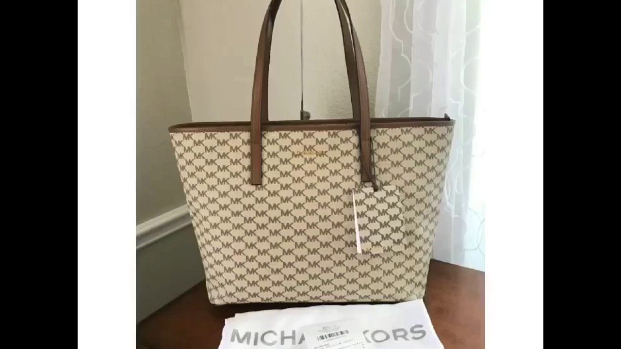 32f196cf5f MICHAEL Michael Kors Signature Emry Large Top Zip Tote-NATURAL - YouTube