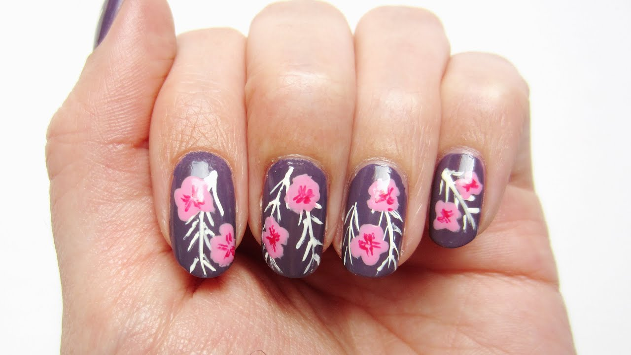 Sommerliches Nageldesign Blumen und Farn | \'seni Nageldesign - YouTube