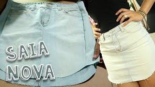 Transformando calça jeans em saia
