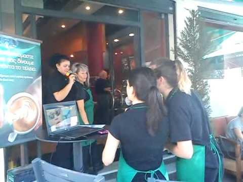 Opa Gagnam Style Karaoke in Thessaloniki's Starbucks in Greece.