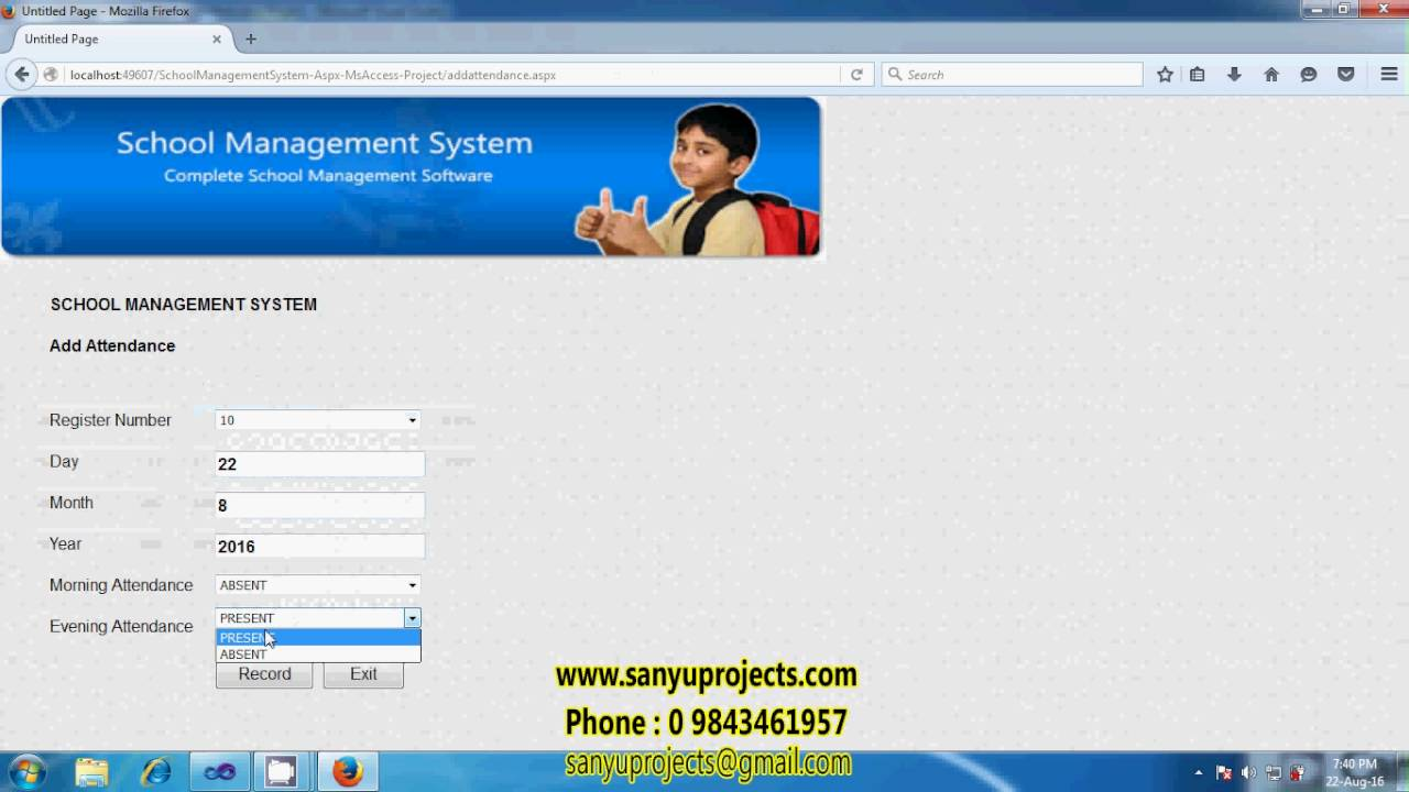 Online school management system project in php