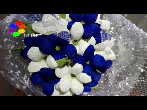 Cách làm Hoa Lưu Ly bằng giấy nhún- Forget-me-not Paper Flower tutorial [hoagiayshop.com]