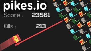 Pikes.io WORLD RECORD!! 213 kills!! 23,000+ score!! | NEW .io game (Like rusher.io)!! | Pikes.io