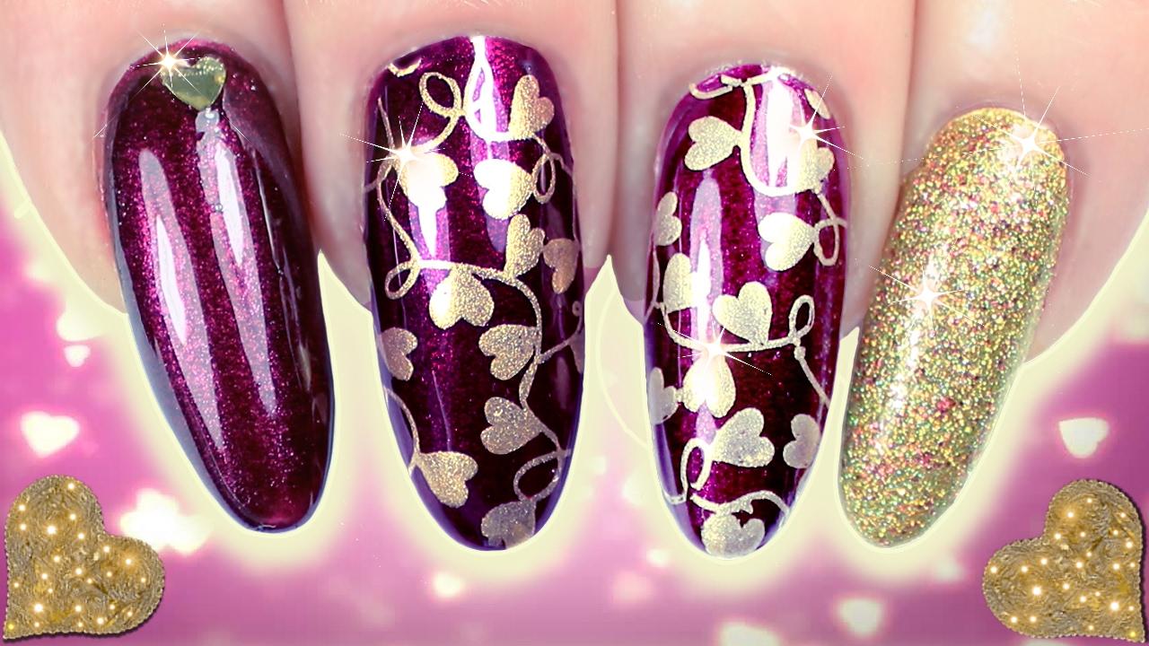 Nail Art Ideas purple and gold nail art : 💜VALENTINES NAILS! 💛 PURPLE & GOLD STAMPING HEART NAIL ART ...