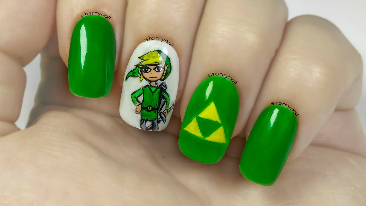 Link The Legend Of Zelda Freehand Nail Art Youtube