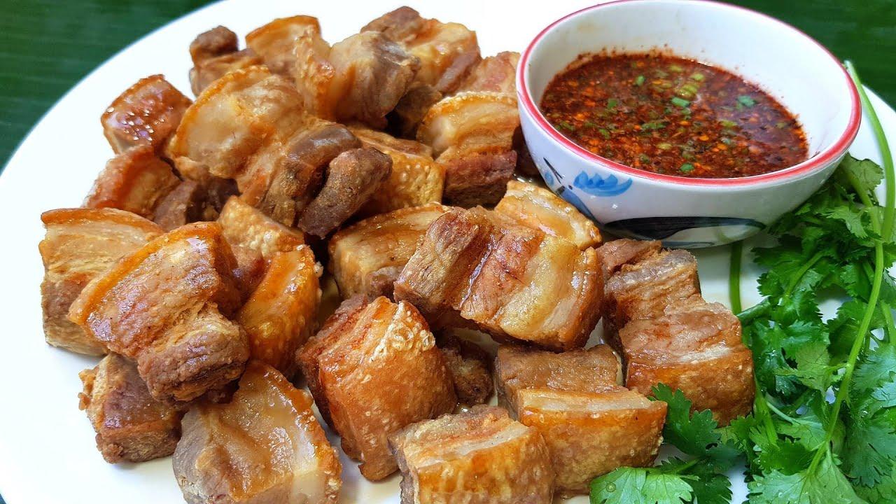 กับข้าวกับปลาโอ 635 : สามชั้นกรอบราดน้ำปลา ทอดให้หนังกรอบ น้ำมันไม่กระเด็น crispy streaky pork