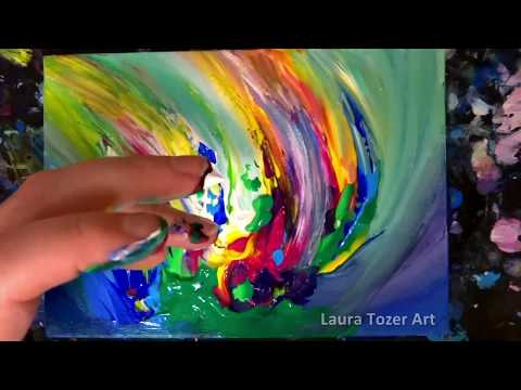 How to create an original colorful abstract painting with only your fingers