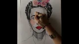 Time-lapse : Frida Kahlo Portrait | Drawing