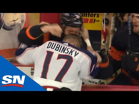 Blue Jackets' Dubinsky Fights  Flyers' Gudas After Big Hit