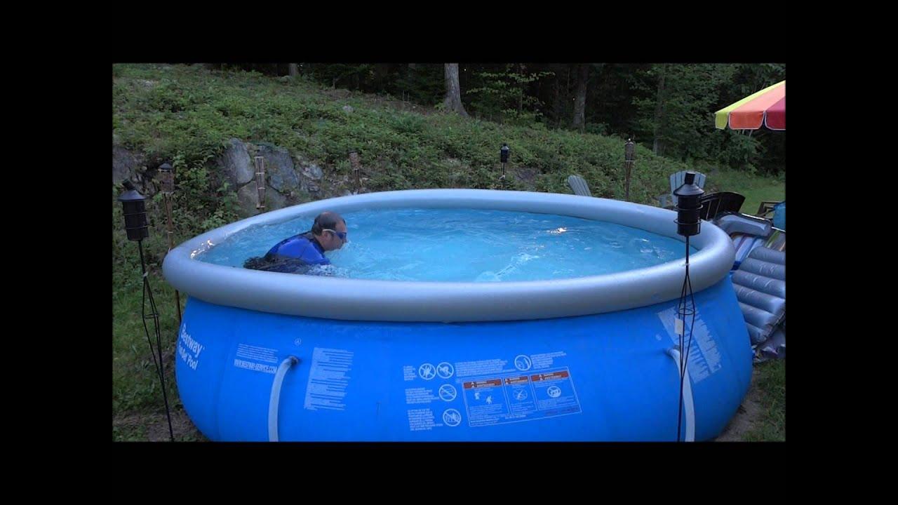 Lap swim in a 12 ft diameter pool 3 feet deep - YouTube