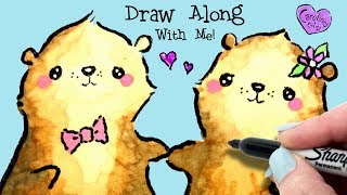 Easy Otter Drawing of Sweetheart Otters Holding Hands / How to Draw a Cute Otter in Real Time