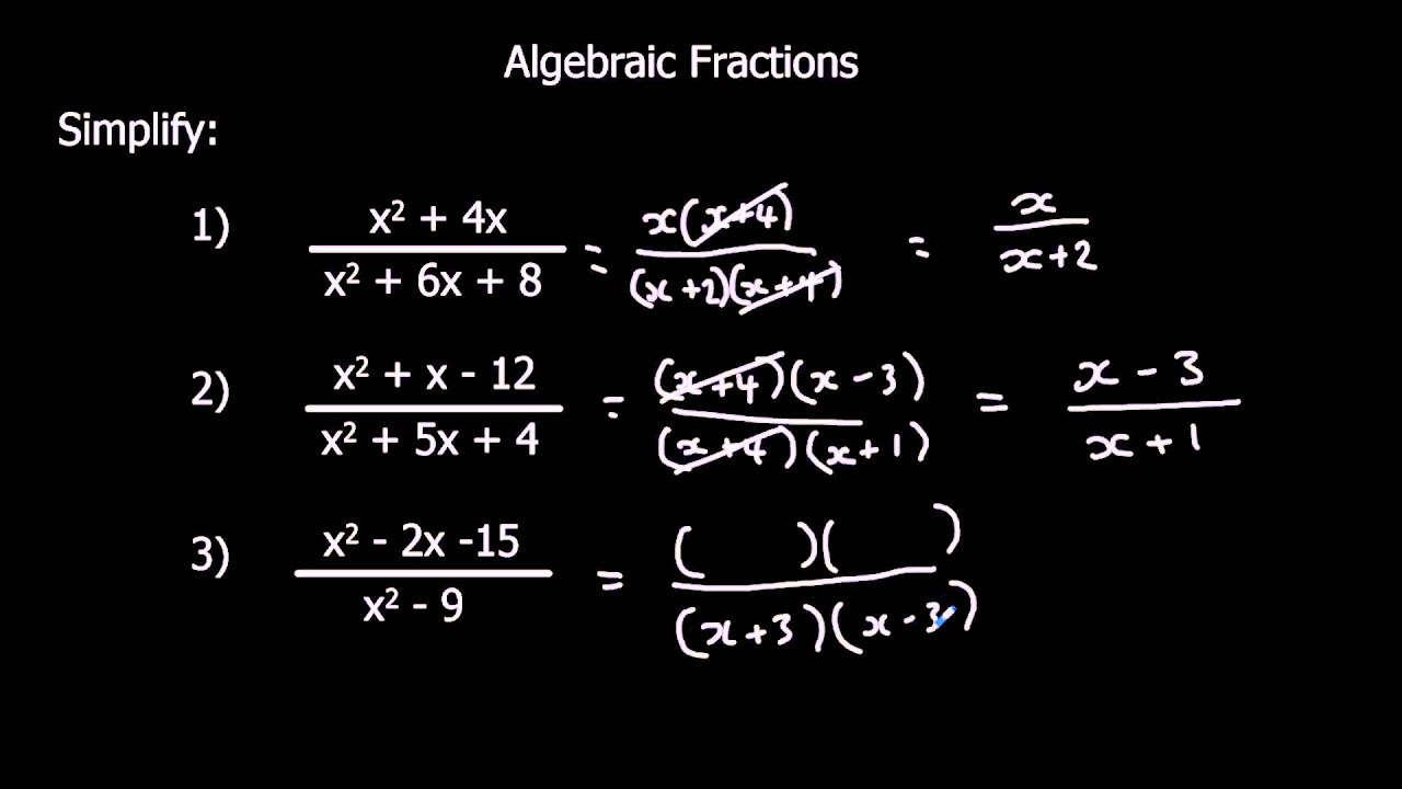 Simplifying Algebraic Fractions Youtube How to solve adding algebraic fractions