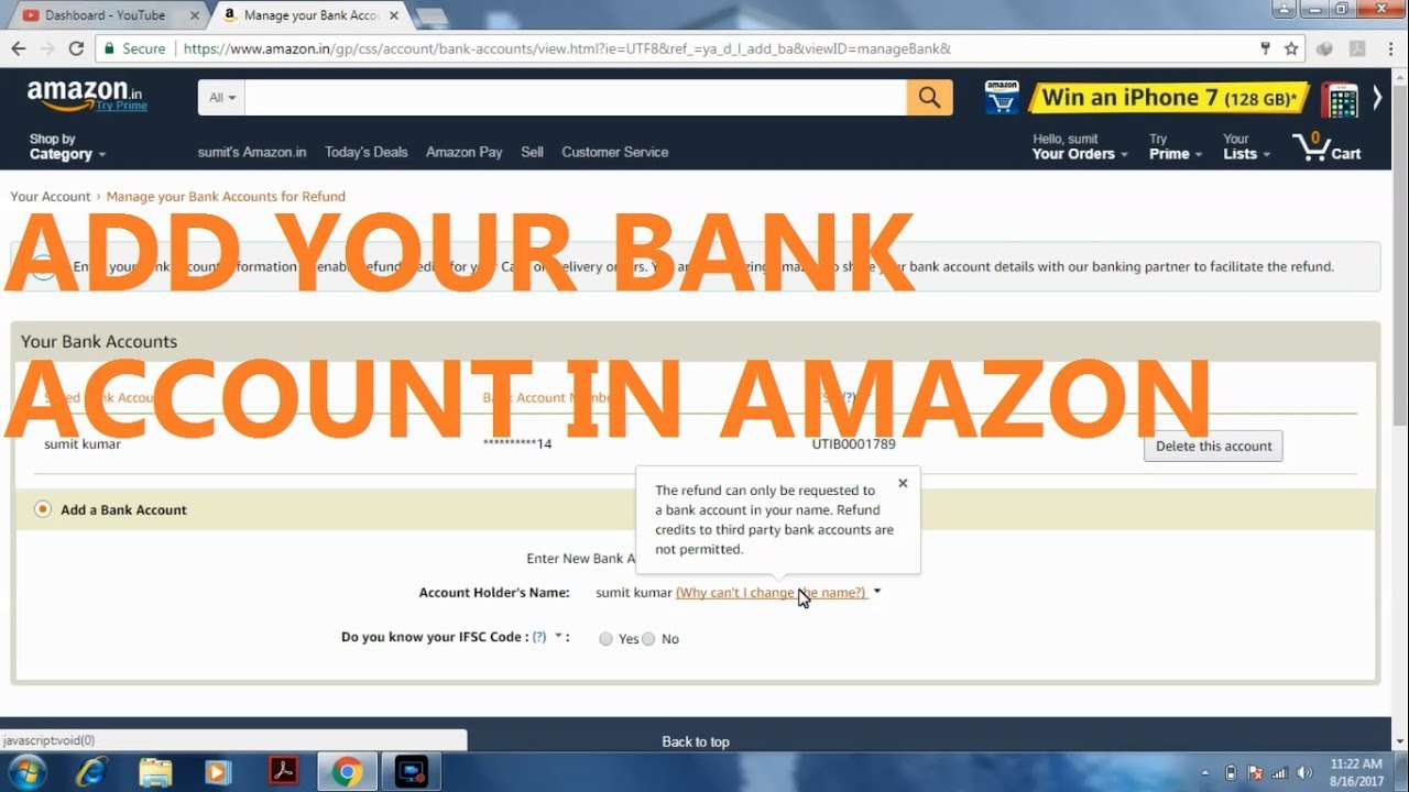 How To Add Bank Account In Amazon For Refund Youtube
