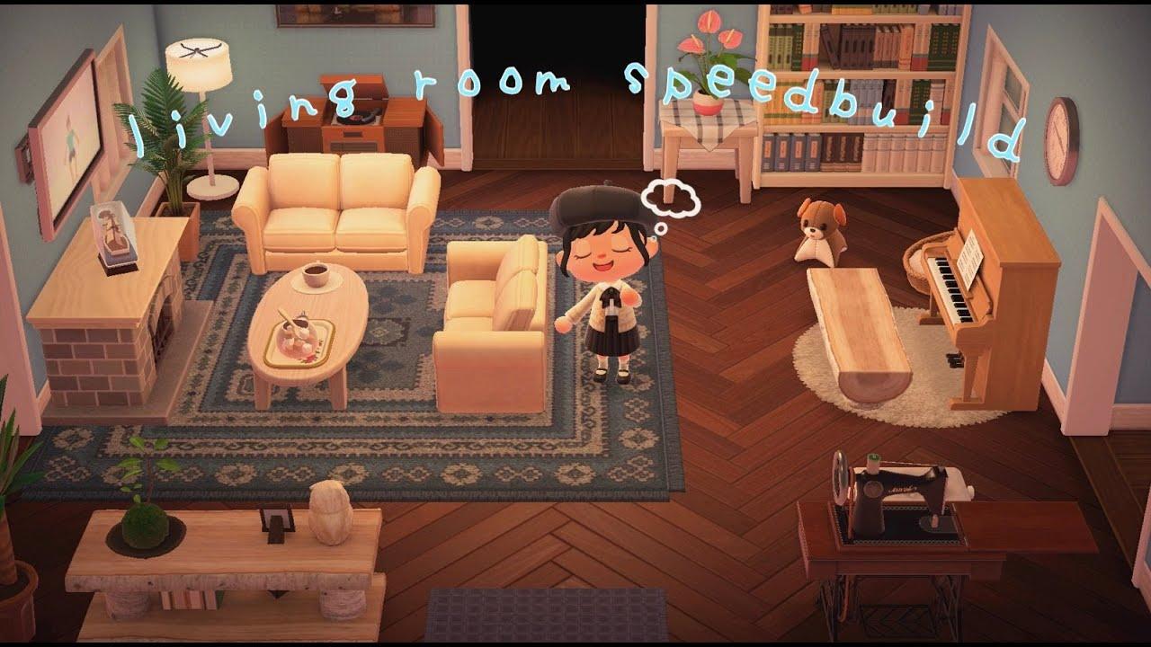 acnh living room speedbuild ( ´ ` )ノ | animal crossing new ... on Animal Crossing Living Room Ideas New Horizons  id=28098
