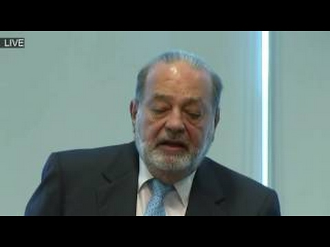 Mexican Business Magnate Carlos Slim Holds News Conference on President Donald Trump