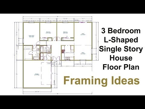 Three Bedroom Floor Plan For L-Shaped House - Framing Ideas