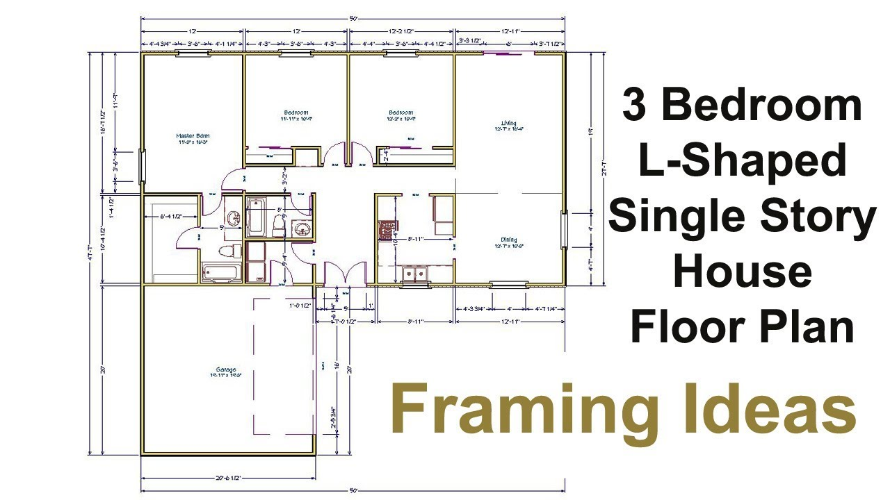 Superb Three Bedroom Floor Plan For L Shaped House   Framing Ideas