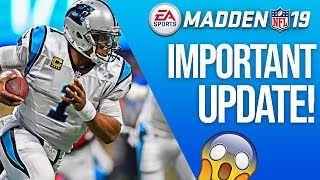 New Update On The Way for Madden 19! What We've ALL Been Waiting For!