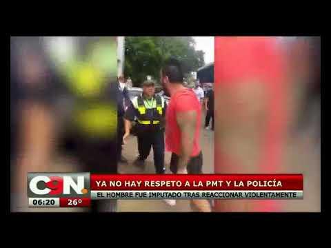 Sujeto reacciona violentamente ante control policial