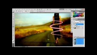 Neon Light Beams effects in Tutorial Photoshop CS5