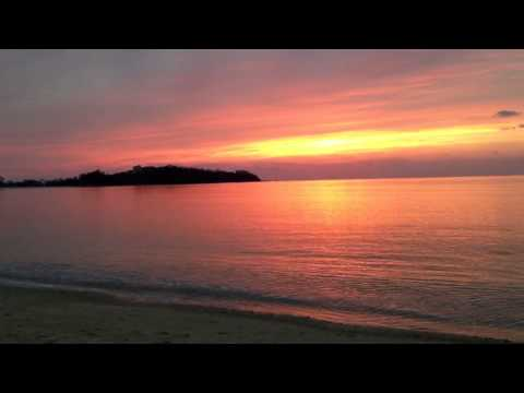 Sunset at Nago citizen beach Okinawa Japan