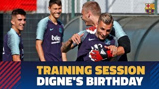 Lucas Digne receives birthday well wishes in morning training