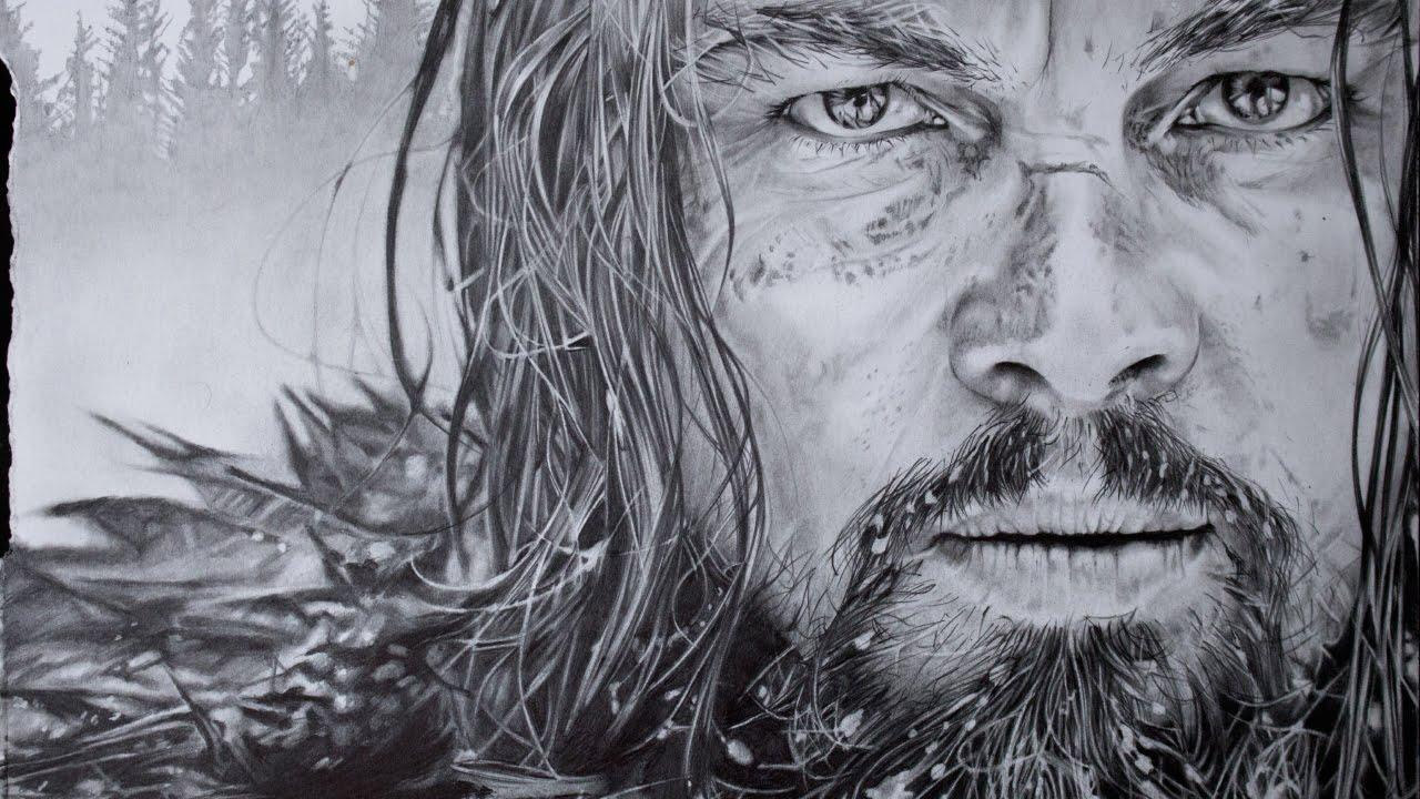 hyperrealistic art drawing leonardo dicaprio the revenant movie