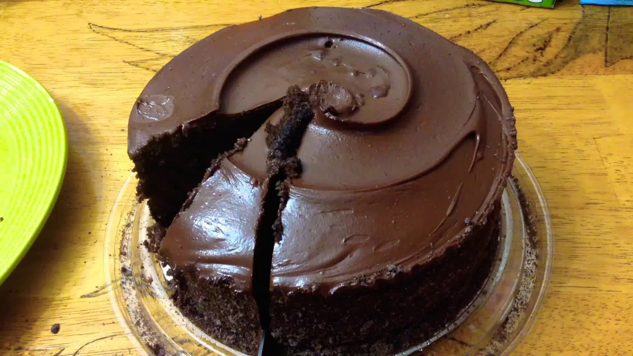 Eating Chocolate Cake With Fudge Icing From Publix
