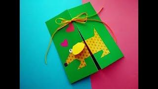 Новогодняя открытка из бумаги своими руками. Подарок папе или маме на день рождения.