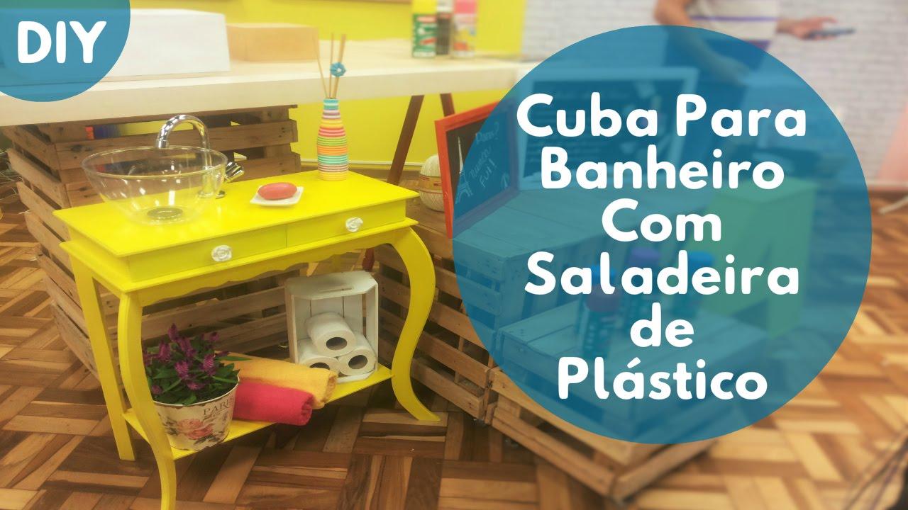 Cuba Para Banheiro Com Tigela de Plástico  YouTube -> Como Fazer Uma Cuba Para Banheiro Artesanal
