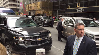 Donald Trump Leaving Trump Tower | Secret Service Motorcade
