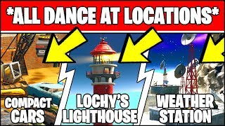 DANCE AT COMPACT CARS, LOCKIE'S LIGHTHOUSE, AND A WEATHER STATION LOCATIONS (Fortnite Challenge)