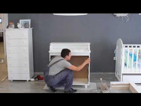 Детская кроватка с пеленатором - YouTube