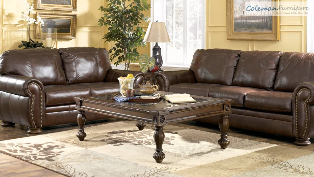 ashley leather living room furniture. Palmer Walnut Living Room Furniture From Millennium By Ashley Leather