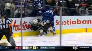 Boston Bruins Vs Toronto Maple Leafs - Leo Komarov Huge Hit on Johnny Boychuk -  2.2.2013