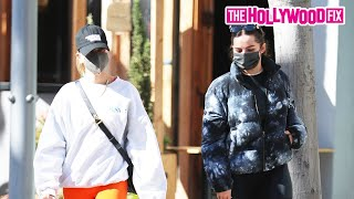Addison Rae & Hailey Bieber Gossip Over Lunch Together In Beverly Hills After Pilates Class 2.5.21