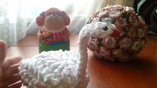 Лебедь из атласной ленты / Канзаши