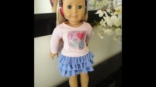 Repeat youtube video No Pattern Ruffled Skirt Tutorial for American Girl Dolls