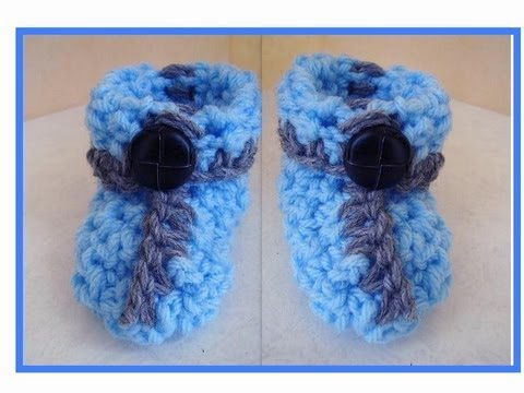 HOW TO CROCHET BABY BOY BOOTIES - YouTube