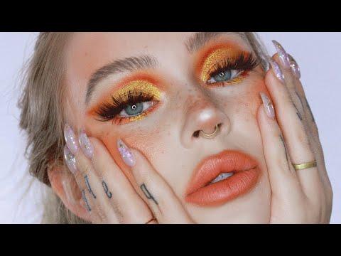 orange glam makeup tutorial / holiday look 2018