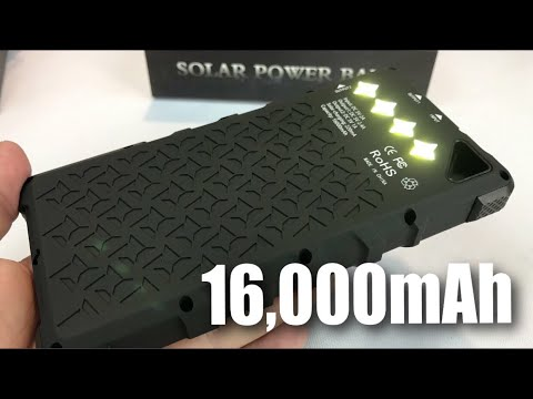 low priced 676a8 97529 FKANT 16000mAh Rugged Solar Charger Dual USB Power Bank with 4 LED  Flashlight review and giveaway