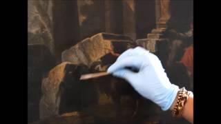 Limpeza do verniz oxidado de uma pintura - Cleaning a painting old varnish