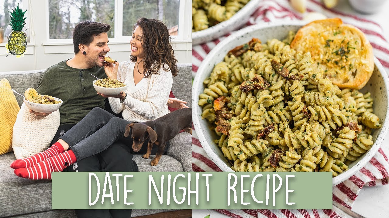 Avocado Pesto Pasta + Garlic Bread | Easy Date Night Recipe