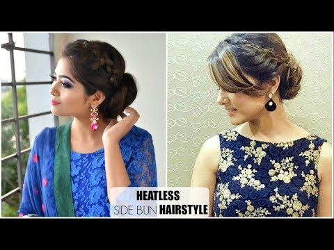 2 Min Hairstyle With Saree Gown Kameez Indian Party Hairstyles Hina Khan Akshara Hairstyle
