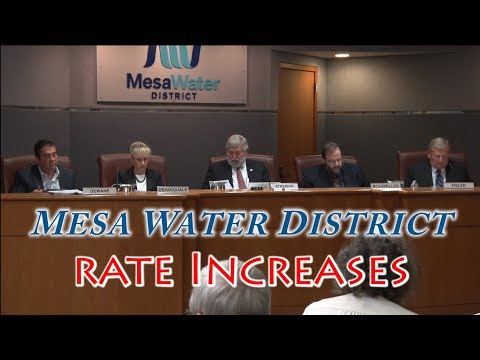 Mesa Water District Board of Directors Meeting – Rate Increases