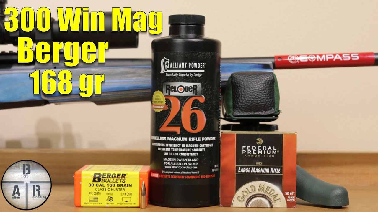 300 Win Mag – Thompson Center Compass- Load development 168 Berger Classic  Hunter and Reloder 26