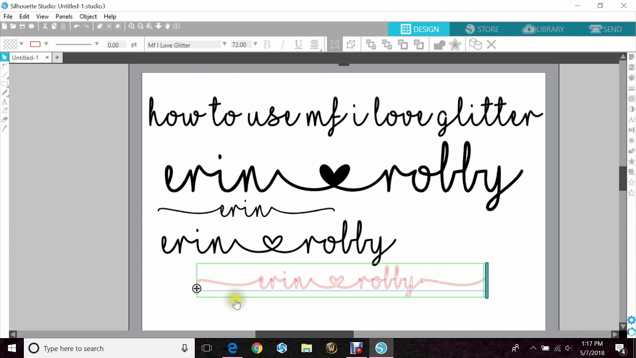 How To Use The Font: MF I Love Glitter