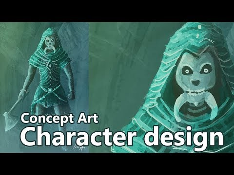 Concept Art tutorial – Character design – Photoshop speed painting